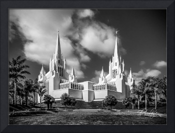 San Diego Temple in Black and White