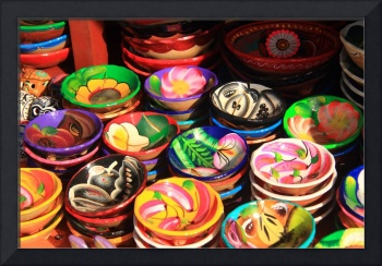 Colorful Mexican pottery display, Mexico