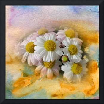 White flowers watercolour digital painting