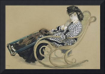 James Tissot~Young Woman in a Rocking Chair, study