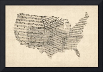 United States Old Sheet Music Map