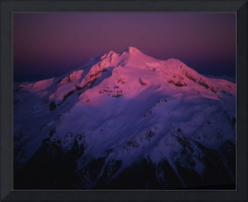 Aerial view of alpenglow on Glacier Peak