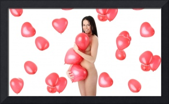 Beautiful nude girl with red heart balloon