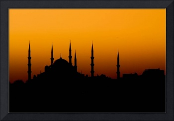 Beautiful silhouette of a mosque at sunset