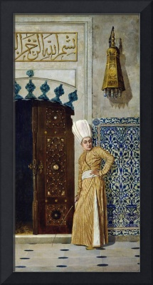 A eunuch before the door of the harem