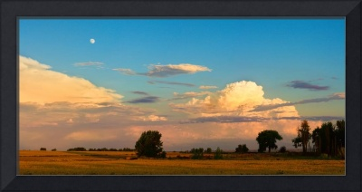 Thunderstorm Front Blue Sky and Moon Panorama