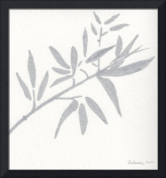 Zen Sumi Botanical 4a Ink on Watercolor Paper by R