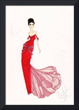 Fashion Art Venetian Red Dress Illustration