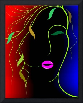 Digital painting of plant abstract of women