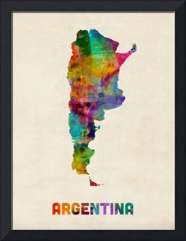 Argentina Watercolor Map