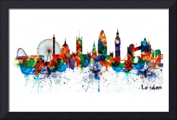London Watercolor Skyline Silhouette