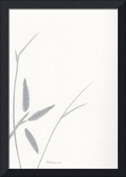 Zen Sumi Flower 3a Ink on Watercolor Paper by Rica