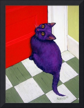 Cat Needing to Go Out Here - Funny Colorful Kitty