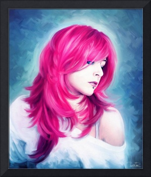 Pink Head sexy lady portrait digital oil painting