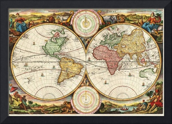 Antique World Map Two Hemispheres Rare Vintage Art