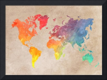 World map colored