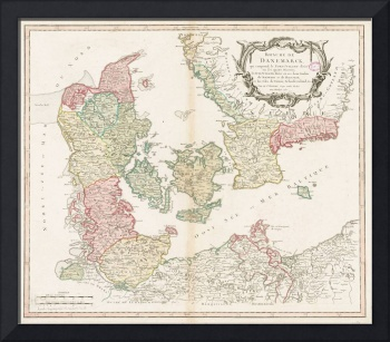 Vintage Map of Denmark (1750)