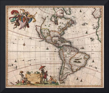 Vintage Map of North and South America (1658)
