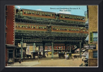 Bowery NYC Double Decker Elevated Train