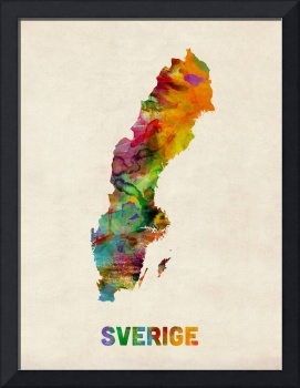 Sweden, Watercolor Map