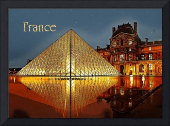 Night at  Louvre Museum Paris France TEXT FRANCE