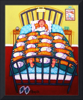Cat Quilt - Funny Woman Sleeping with Cats