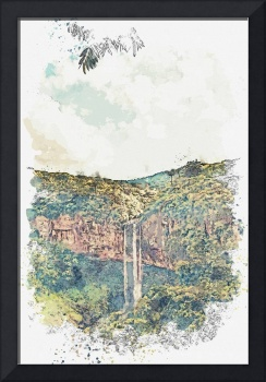 Caracol Waterfall, Canela, Brazil -  watercolor by