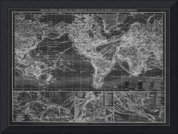 Black and White World Map (1895) Inverse 2