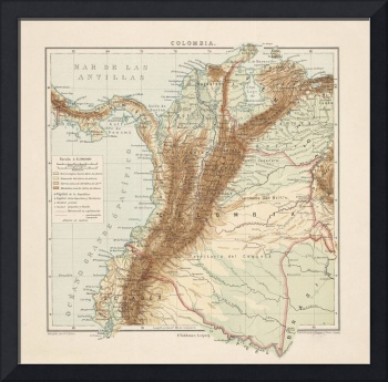 Vintage Colombia Map (1875)