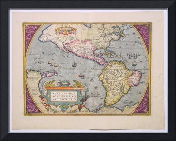 Ortelius AmericA ANCIENT WORLD MAP OF AMERICA