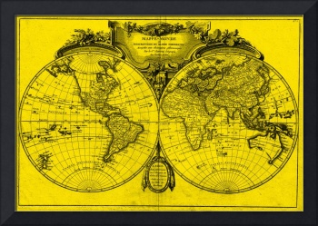 World Map (1775) Yellow & Black