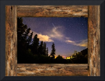 Shooting Star Rustic Wood Window View