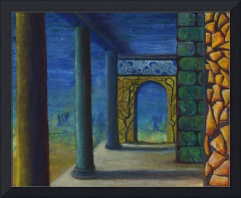 Surrealistic Perspective with Columns and Walls