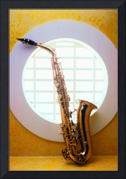 Saxophone in round window