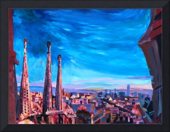 Barcelona City View And Sagrada Familia