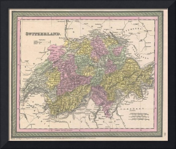 Vintage Map of Switzerland (1853)