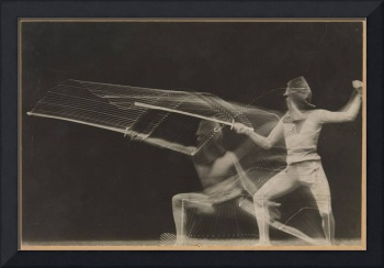 Vintage Motion Blur Photograph of a Fencer (1906)