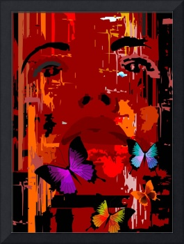 Digital painting  of women face with butterflies