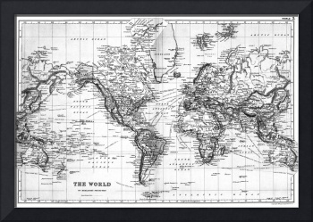 Black and White World Map (1892)
