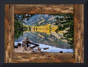Mountain Lake Rustic Cabin Window View