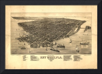 Vintage Pictorial Map of Key West FL (1884)