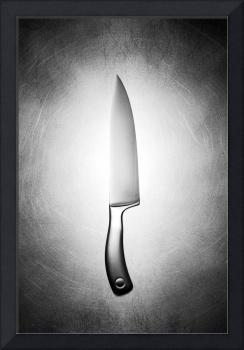Chef's knife on Steel black and white photograph