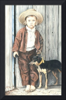 Amish Boy with Dog