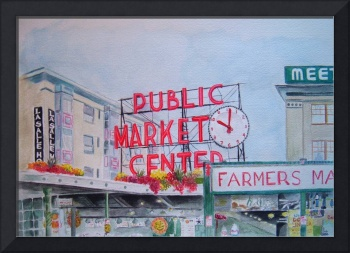 Seattle's Pike Place Market Watercolor Painting