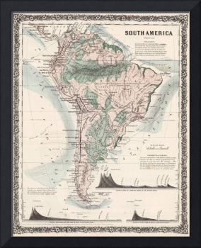 Vintage Map of South America (1858)