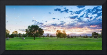 Golfers Sunset Panorama