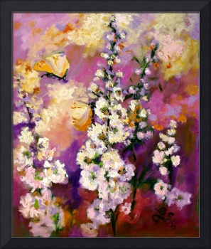 Impressionist Hollyhock Butterflies Oil Painting