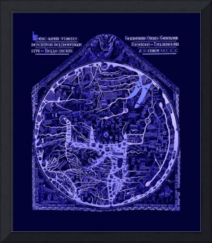 Hereford Mappa Mundi Latin Text Neg Image Lrg Blue