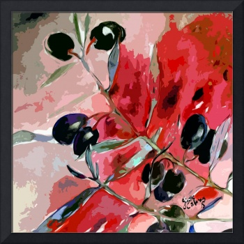 Olive Branch Modern Art Decor Square