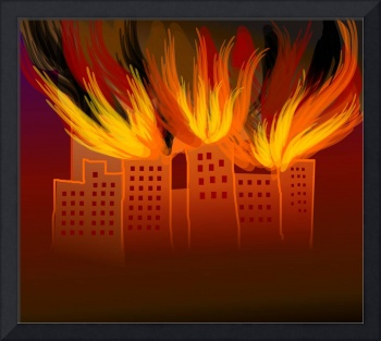 Digital painting of burning tall building